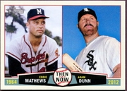 2013 Topps Heritage Then and Now Eddie Mathews & Adam Dunn Baseball Card