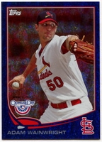 2013 Topps Opening Day Blue Sparkle Adam Wainwright Baseball Card