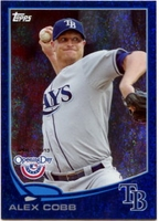 2013 Topps Opening Day Blue Sparkle Alex Cobb Baseball Card