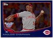 2013 Topps Opening Day Blue Sparkle Aroldis Chapman Baseball Card