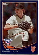 2013 Topps Opening Day Blue Sparkle Barry Zito Baseball Card