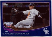 2013 Topps Opening Day Blue Sparkle Carlos Gonzalez Baseball Card