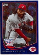 2013 Topps Opening Day Blue Sparkle Johnny Cueto Baseball Card