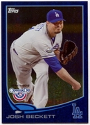 2013 Topps Opening Day Blue Sparkle Josh Beckett Baseball Card