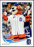 2013 Topps Opening Day Mascots Detroit Tigers Paws Baseball Card