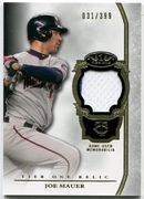 2013 Topps Tier One Relics Joe Mauer Baseball Card 031/399