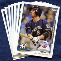 2014 Topps Opening Day Milwaukee Brewers Baseball Cards Team Set