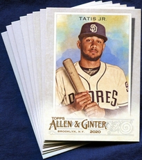 2020 Topps Allen and Ginter San Diego Padres Baseball Cards Team Set