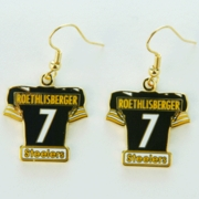 Pittsburgh Steelers Ben Roethlisberger Jersey #7 Gold Colored Ear Rings