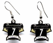 Pittsburgh Steelers Ben Roethlisberger Jersey #7 Silver Colored Ear Rings