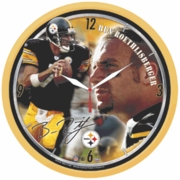 Pittsburgh Steelers Ben Roethlisberger Yellow Background Wall Clock