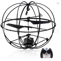 Robotic UFO Remote Control Flying Helicopter Black Gyroscopic Cage