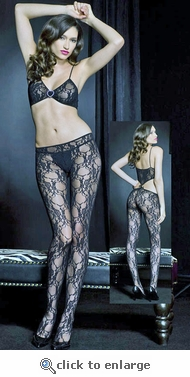 Body Baring Floral Pattern Bodystocking