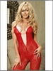 Red Lace Rhinestone Heart Bodystocking