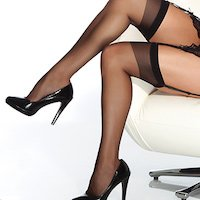 Coquette XL Stockings Sheer Black