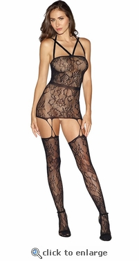Criss Cross Gartered Chemise & Stockings