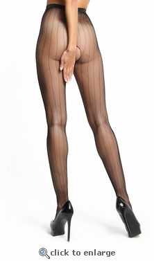 Miss O Crotchless Pantyhose Pinstriped Fishnet