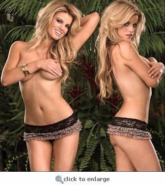 Crotchless Thong Leopard Ruffles