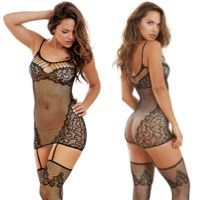 Gartered Dress & Stockings Patterned Net