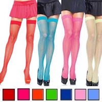 Colorful Fishnet Thigh High Stockings