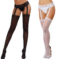 Garter Belt Pantyhose DreamGirl Black Diamond