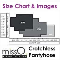 Miss O Crotchless Pantyhose Size Chart & Detailed Images
