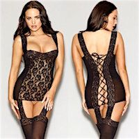 Lace Up Chemise with Attached Stockings