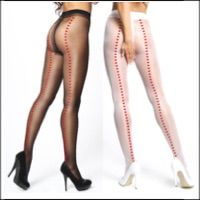 Miss O Crotchless Pantyhose Hearts Back Seam 20 Denier
