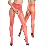 Red Crotchless Pantyhose with Backseam