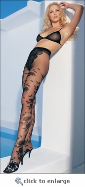 Patterned Pantyhose French Cut Floral Design