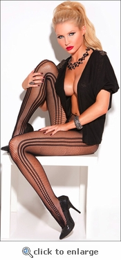 Patterned Pantyhose Striped Fishnet