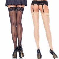Plus Size Backseamed Stockings with Lace Top