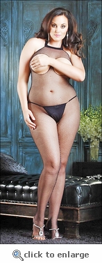 Plus Size Crotchless Open Bust Bodystocking