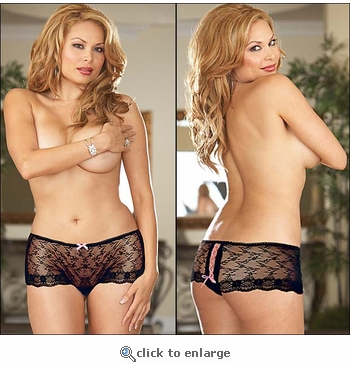 Plus Size Crotchless Panties Chantilly Lace