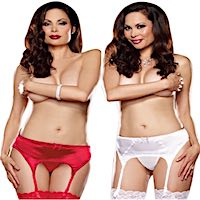 Plus Size Garter Belt Satin & Sheer