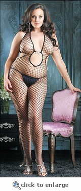 Plus Size Net Halter Bodystocking #89044Q
