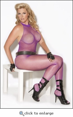 Queen Bodystocking Purple Fishnet