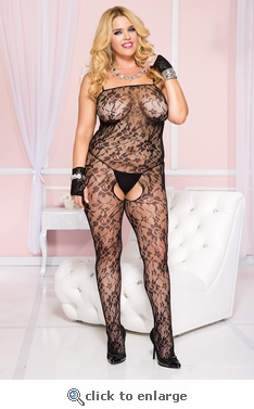 Queen Size Bodystocking Floral Net