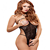 Queen Size Crotchless Teddy Hypnotic Swirl