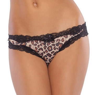 Queen Size Leopard Crotchless Panty