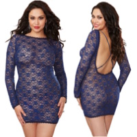 Plus Size Midnight Blue Lace Chemise