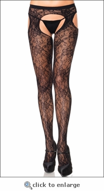 Suspender Crotchless Pantyhose Gardenia Lace