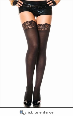 Thigh High Stockings Opaque with Lace Top