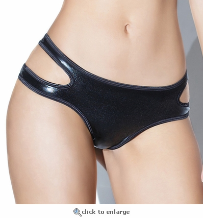 Wet Look Crotchless Panty