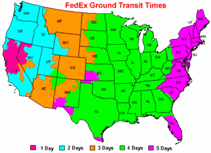 FedEx, Airborne, and UPS Ground Transit Times