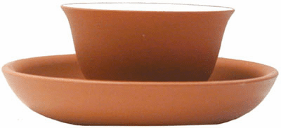 Red Clay Tea Cup with Saucer