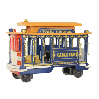 San Francisco Cable Car Music Box Model Blue Body: 5.5""
