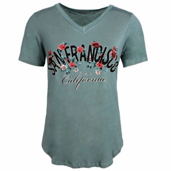 San Francisco Rosa Ladies V Neck Top Sage