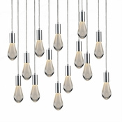14 Pendant Chrome Cosmopolitan Chandelier - Bubbled Drop Glass
