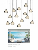 14 Pendant Chrome Cosmopolitan Chandelier - Clear Bubbled Triangle Glass